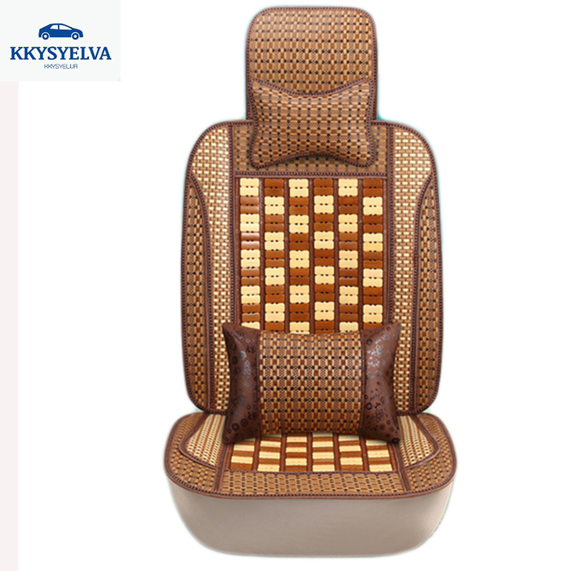 KKYSYELVA 1pcs Car seat Cover Summer Bamboo Lumbar support for office home Chair Seat Cushion Cover Black Seat covers kkysyelva universal leather car seat cover set for toyota skoda auto driver seat cushion interior accessories