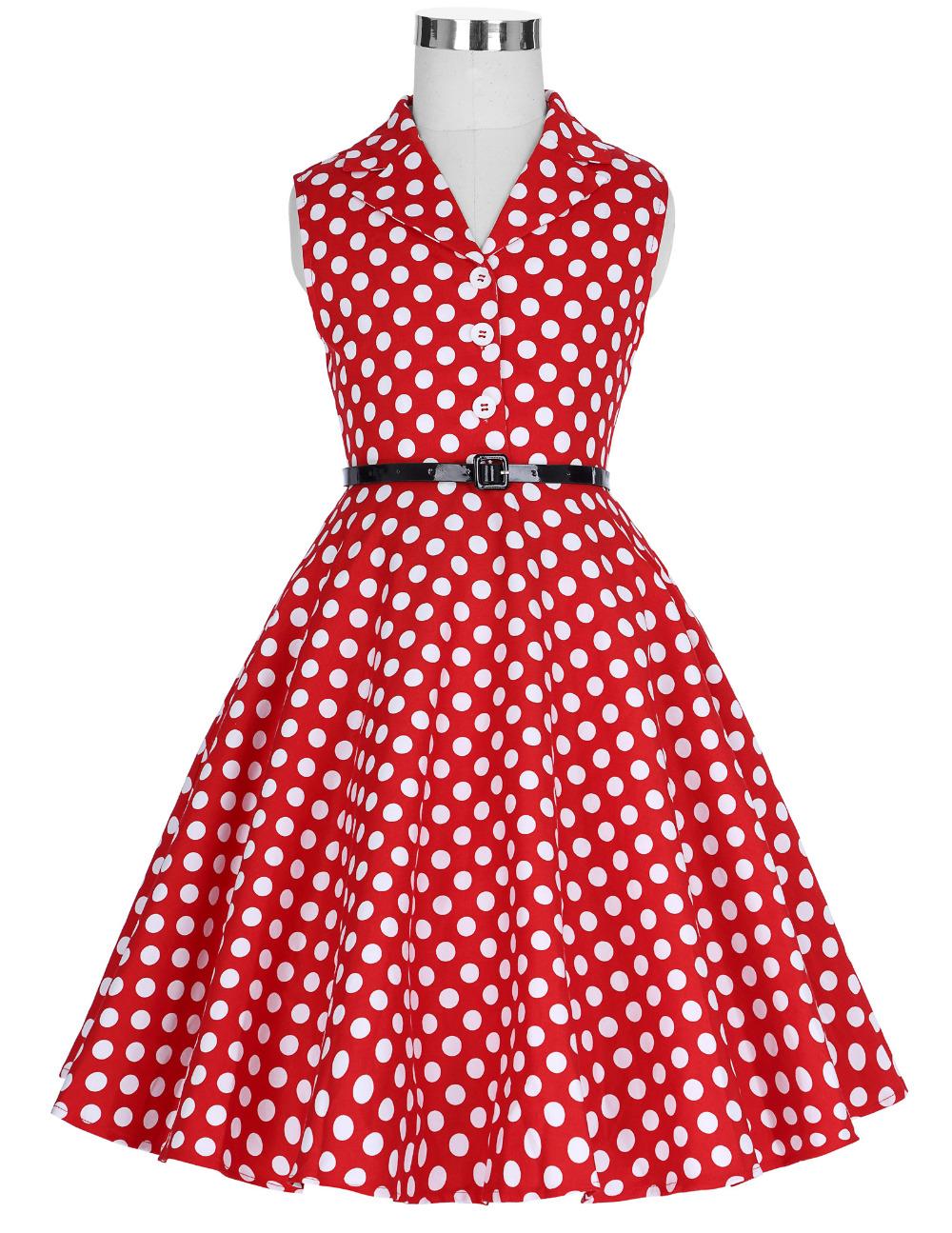 Grace Karin Flower Girl Dresses for Weddings 2017 Sleeveless Polka Dots Printed Vintage Pin Up Style Children's Clothing 15