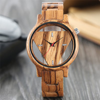 2018 Unique Hollow Triangle Wooden Watches Men Zebra Style Bamboo Quartz Wristwatches Man S Wood Hour