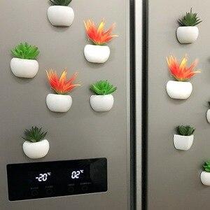 Image 4 - 3d 冷蔵庫ステッカー磁気多肉植物冷蔵庫マグネットステッカー花束花冷蔵庫鉢植えステッカーの壁
