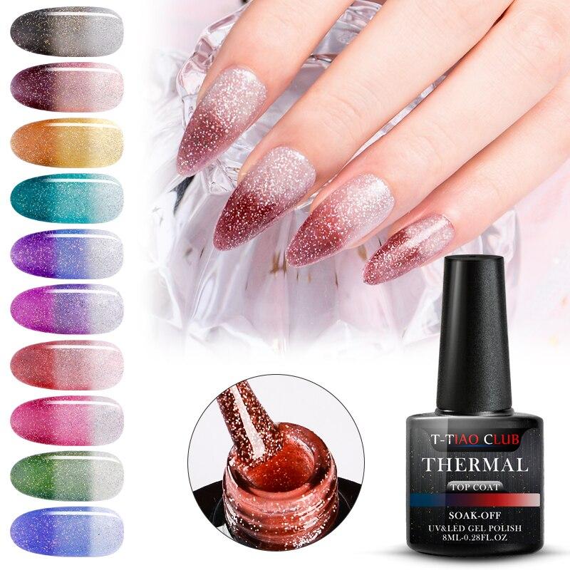 Rainbow Thermal Color Changing Top Coat Gel Nail Polish Holographic Glitter Temperature Soak Off UV Gel Varnish 8ml Nail Art