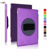 for ipad pro 12.9 case,aiyopeen handheld 360 degree rotating cover 3 fold pu leather smart wake up sleep +hard pc back