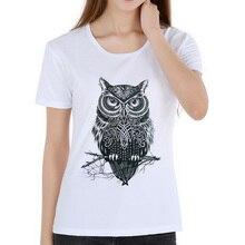 2d8a6a3a Vintage Owl Design T-Shirt fashion women's short sleeve eagle lion owl  print T-