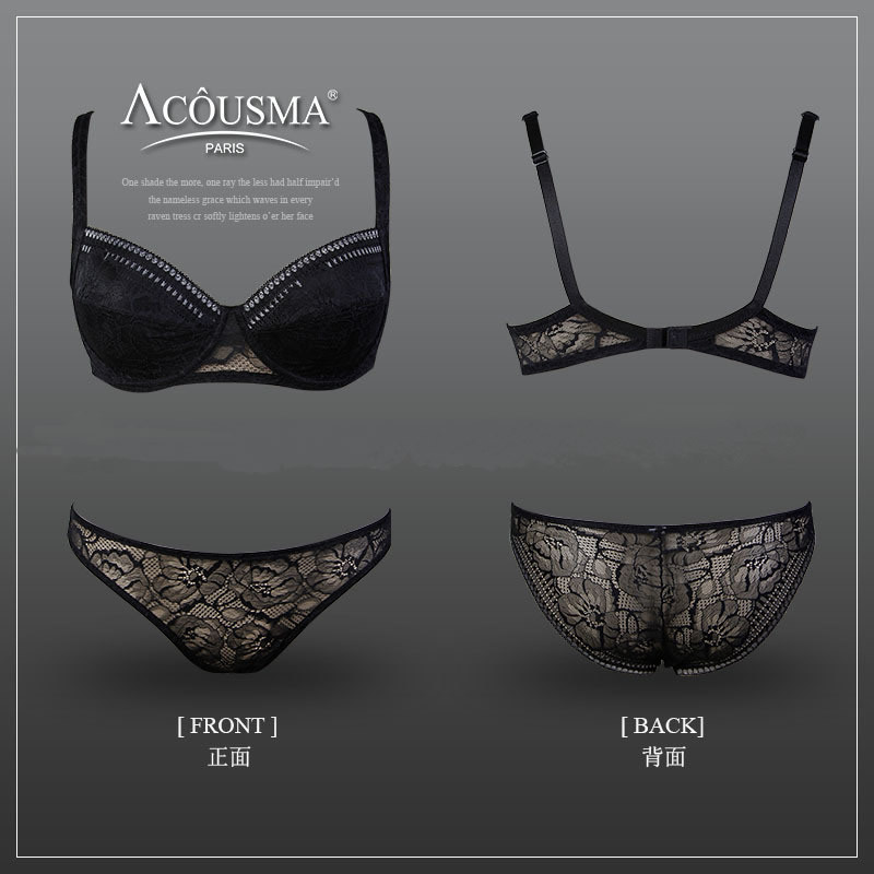 Plus size C cup brand luxury lace bra brief set transparent Ultra thin Sexy Plunge bralette