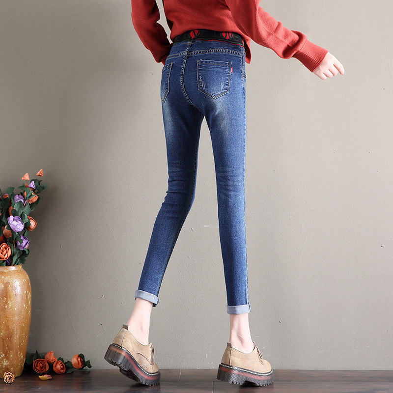 Casual Floral Lápiz Pant Cintura Bordado Jeans Mujeres Tela Novio Denim Chicas Blue Elástico Tobillo High Nuevo Stretch Nonis YAaEg1qg