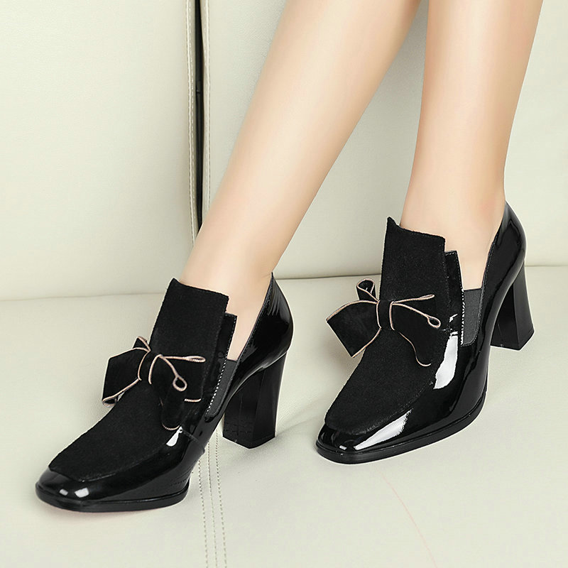 ФОТО AIWEIYi New REAL PHOTO Red Bottom High Heels Pumps Square toe Genuine Leather Shoes Women Ladies Black Sexy Chaussure femme
