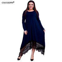 COCOEPPS 5XL 6XL Autumn Winter Loose Long Dress Maxi Plus Size Lace Dresses Irregular Big Size