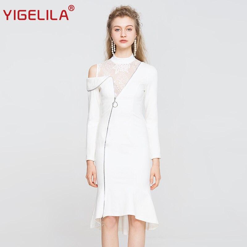 Solide 2018 Sirène Patchwork Pleine Femmes 63252 Yigelila Automne Asymétrique Dentelle cou Moulante Blanc Robe Manches Mode O 6qp11fnwA