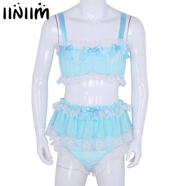 Ensemble Lingerie Sissy pour hommes, haut court avec jupe, en mousseline de soie transparente à volants, vêtements de nuit, culotte Sexy pour hommes