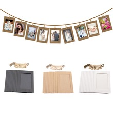 10PCS/Lot DIY Photo Frame Wooden Clip Paper Picture Holder For Wedding Baby Shower Birthday Party Booth Props Decoration
