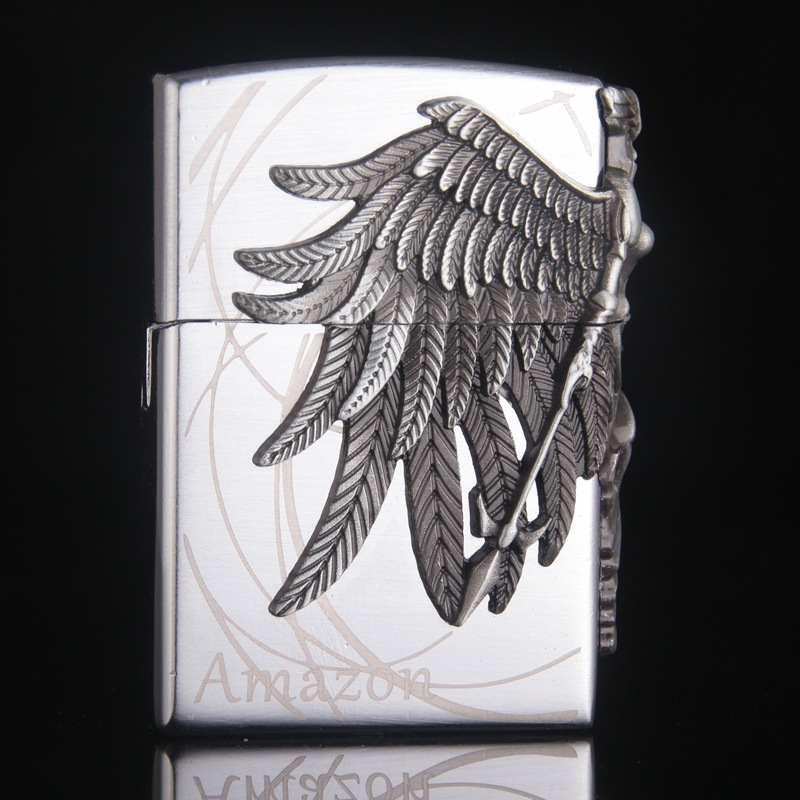 Image 2 - Gas Lighter Butane Lighter Amazon Female Warrior Cigarette Cigar Flame Tobacco Big Angel Wings Fire Bar Lighters-in Matches from Home & Garden