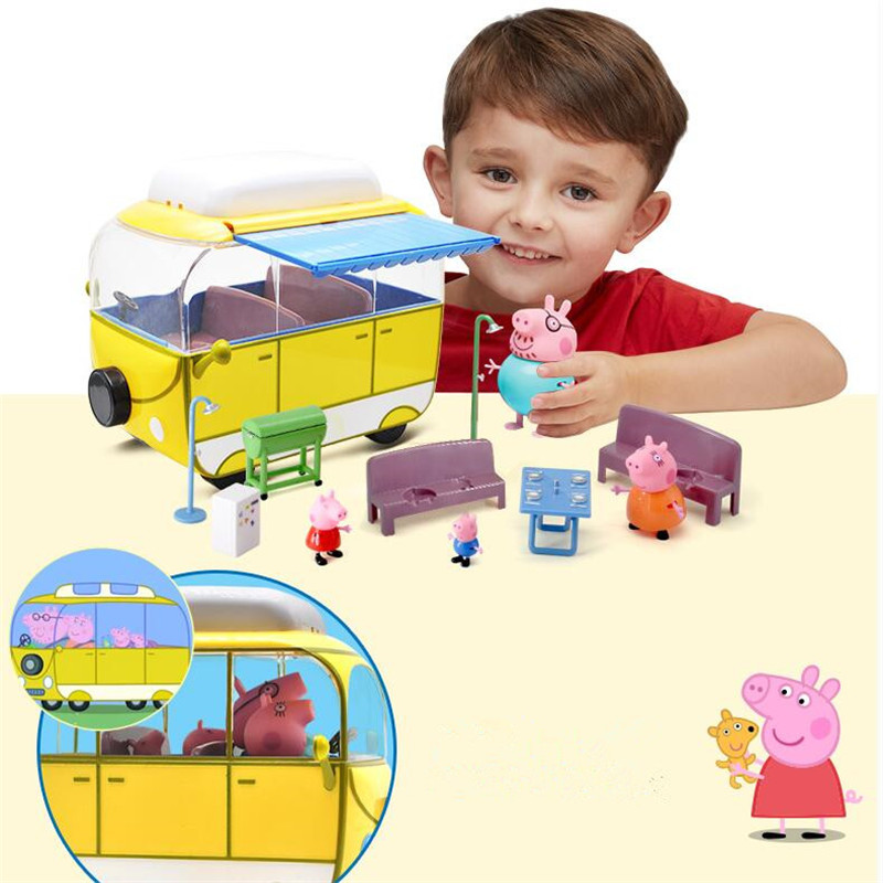 Peppa George pig Family car Pack Camping car Action Figures suit Peppa pink Pig Figura Kids Birthday Gift Toy