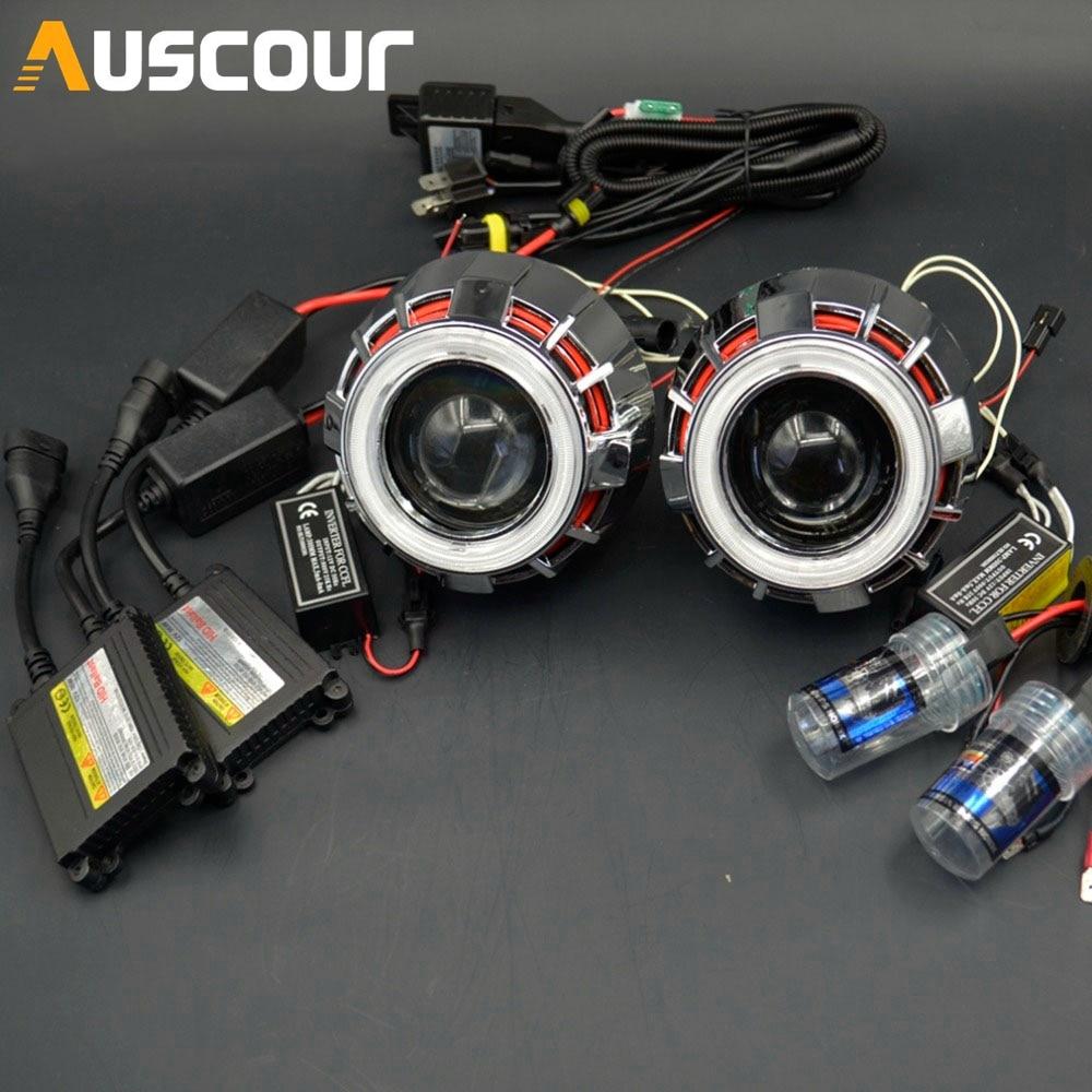 2.0/'/' Mini Bi xenon Projector Lens 35W Ballast H1 6000K Bulb Car HID Xenon Kits