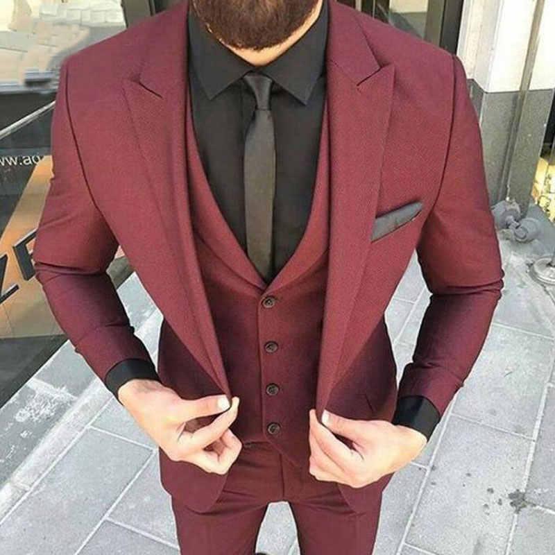 カスタムメイドベージュの男性が結婚式スリムフィット新郎タキシードブレザージャケット 3 ピース最新コートパンツデザイン衣装オム Ternos
