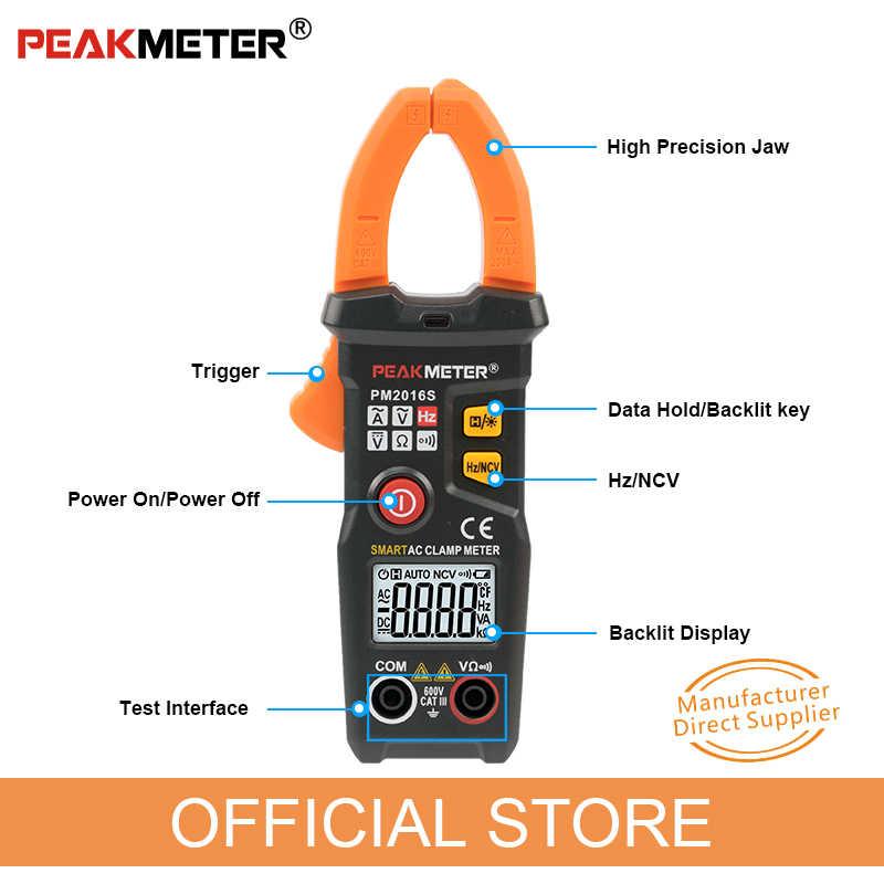 Peakmeter PM2016S PM2016A Smart Mini Digital Clamp Meter AC Saat Ini Tang Ammeter Frekuensi Ncv Tester Amperimetric Clamp