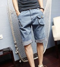 A Group Of Men On Behalf Of The Korean Version Of Men's Casual Summer Denim Shorts Pocket 5 Beach Breeches
