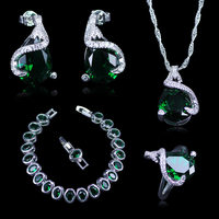 Russian Fashion Nice Design Silver 925 Sterling Silver Jewelry Bracelets Sets For Women Green Created Emerald