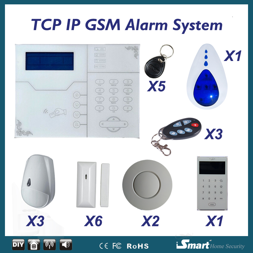 32 wireless zones android ios app control GSM TCP IP alarm system w touchscreen RFID tag swipe home alarm system pet pir senson