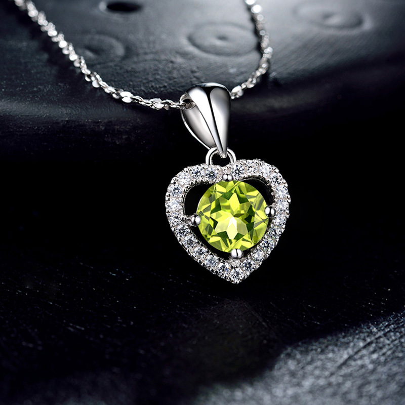 Peridot pendant 925 silver inlaid zircon necklace female han edition collarbone chain sautoir Nested chain Best-selling metal alloy circles collarbone necklace