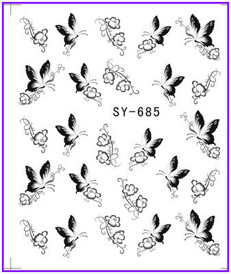 все цены на 1X  Nail Sticker Black Butterfly  Water Transfers Stickers Nail Decals Stickers Water Decal Opp Sleeve Packing SY685 онлайн