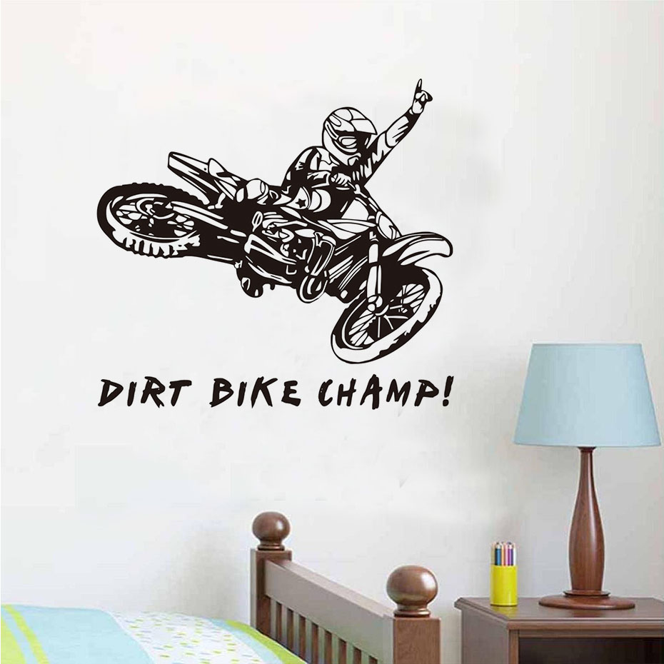 Motorcycle Wall Stickers Part - 25: Funny Quotes Dirt Bike Champ Motorcycle Rider Wall Stickers Creative Vinyl  Adhesive Decals Removable Motorcycle Wall Sticker