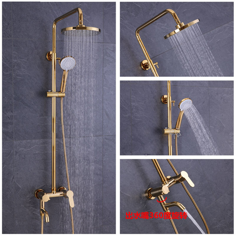 Bathroom Fixtures Amiable Parker Wei Yu All The Copper Body Golden Shower Rose Gold Flower Asperse Shower Set Golden Bath Crock Bibcock Showers To Help Digest Greasy Food Shower System