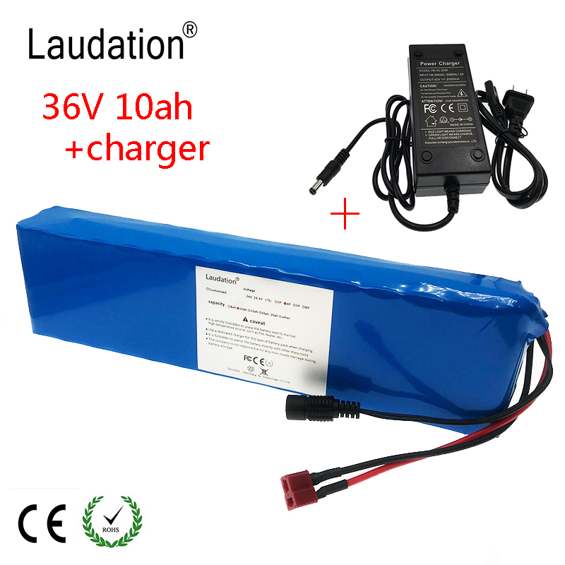 laudation 36V10ah <font><b>lithium</b></font> <font><b>battery</b></font> pack 10S 3P <font><b>36V</b></font> <font><b>10ah</b></font> electric bicycle <font><b>battery</b></font> for 500W E electric bicycle with 2A <font><b>charger</b></font> image