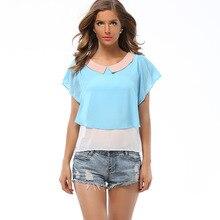 2019 Women's New Loose Contrast Color Doll Collar Chiffon Flying Sleeves Shirt Small Shirt Chiffon Shirt contrast collar metal embellished button up shirt
