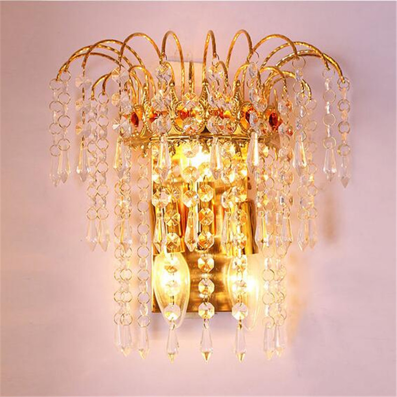 Luxurious Elegant Classical Golden K9 Crystal Led E14*3 Wall Lamps For Aisle Stair Living Room Bedroom Bedside 1273