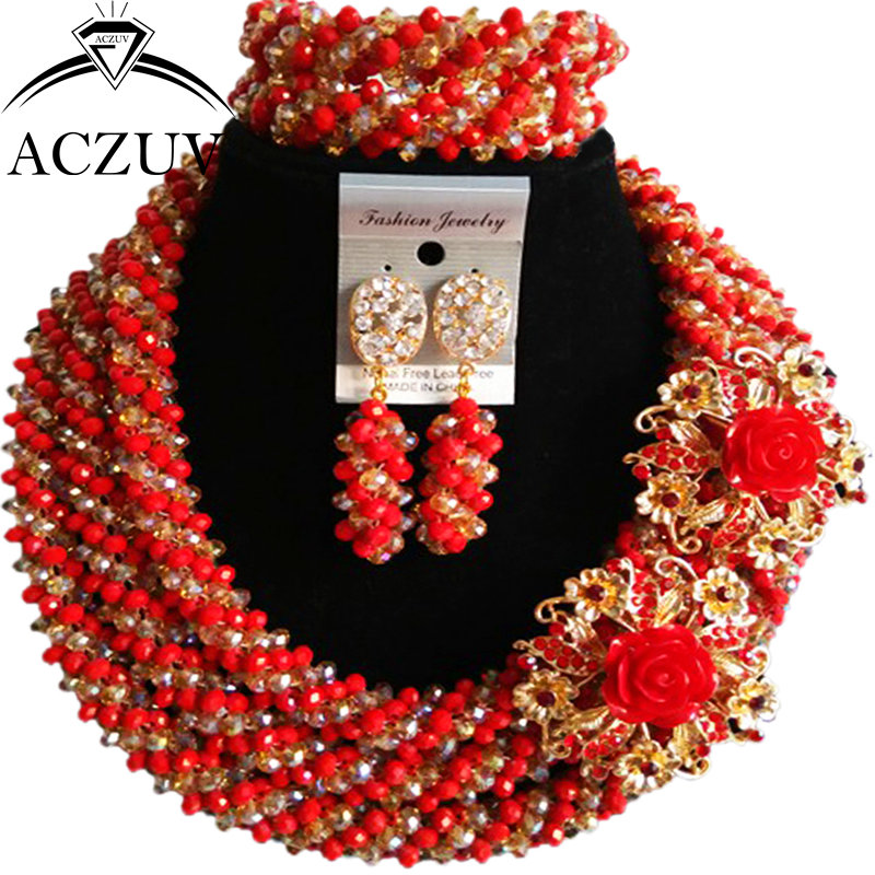ACZUV Opaque Red and Gold AB Dubai Nigerian Beads African Jewelry Set Wedding Party Necklaces A3R016 aczuv brand opaque red african jewelry set nigerian wedding beads art005
