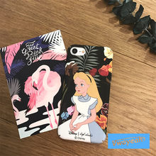 For iPhone x 10 6 7 8 plus Cartoon Alice in Wonderland Vintage Cartoon Princess in Blue Dress Around By Flowers Rose Case Cover(China)