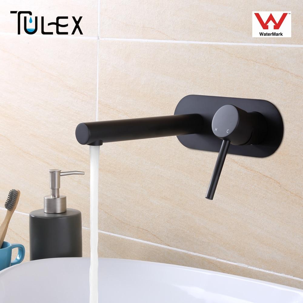 TULEX Wall Mounted Basin Mixer Matt Black Chrome Brass Faucet Hot & Cold Concealed Mixer Crane for Bathroom Accessories