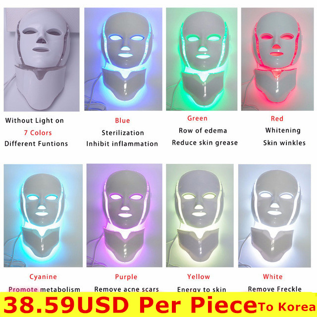 Foreverlily 3/7 Colors Photon Electric LED Facial Mask With Neck Skin Rejuvenation
