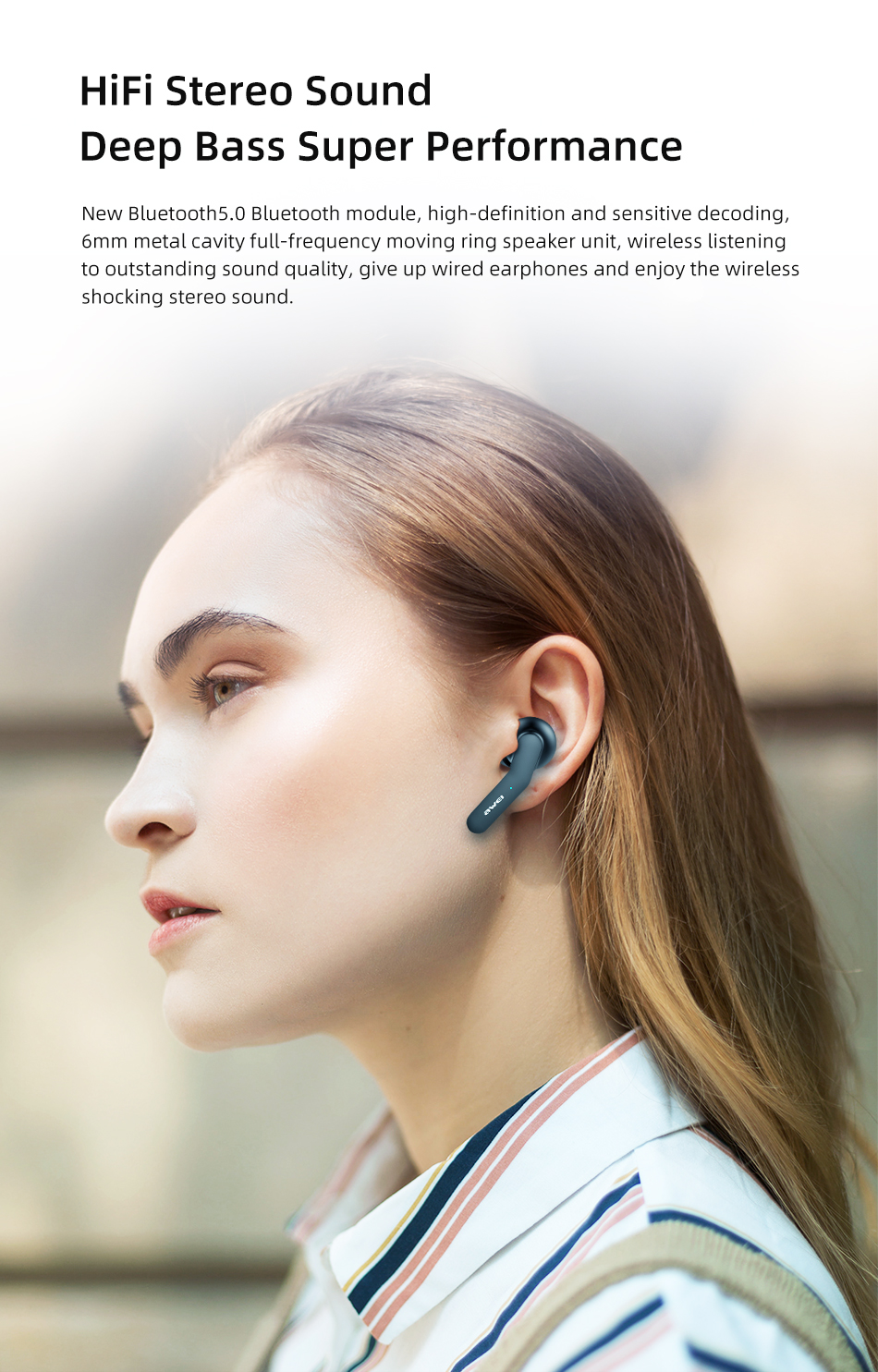 Fone Bluetooth Sem Fio Awei T10c - True Smart Touch-page3