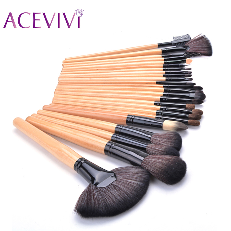 Hot sale! 2016 Soft Beauty woolen 24 Pcs Cosmetic kit Makeup Brush Set Tools Make-up Make Up Brush with Case Drop shipping 31 best quality fast shipping 15 pcs soft synthetic hair make up tools kit cosmetic beauty makeup brush black set with leather case