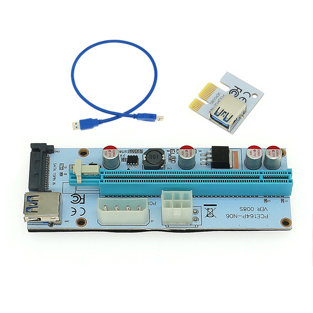 8231ad6d6ef 008S PC PCIe PCI-E PCI Express Riser Card 1x to 16x USB 3.0 Data Cable SATA  to 4Pin IDE Molex Power Supply for BTC Miner Machine