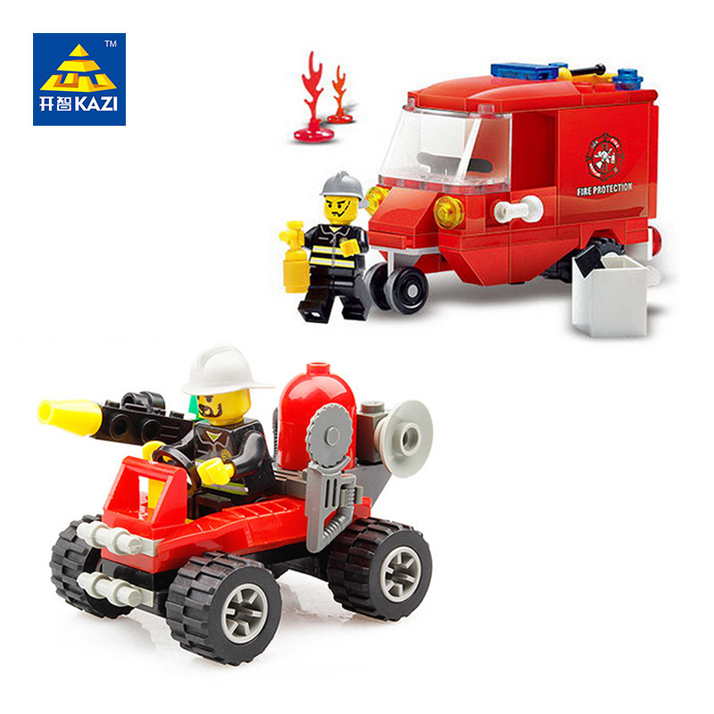 KAZI Fire Fighting Truck Vehicles Model Building Block Brinquedos Educational Blocks Toys Intelligence Brick for Kids 8058 8059 kazi fire department station fire truck helicopter building blocks toy bricks model brinquedos toys for kids 6 ages 774pcs 8051