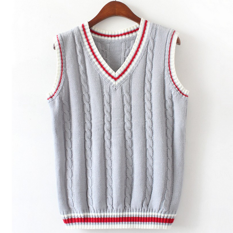 Knitting Pattern V Neck Sleeveless Jumper : 6 Color V Neck Vest Sweater 2017 Autumn Sleeveless Women Sweaters Fahsion Twi...