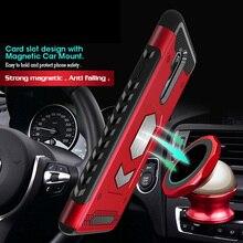 For LG V30 case Shockproof Hybrid Car Magnetic Suction Bracket Card Slot Armor Case G6 G7 Q6 Q8 Holder Cover