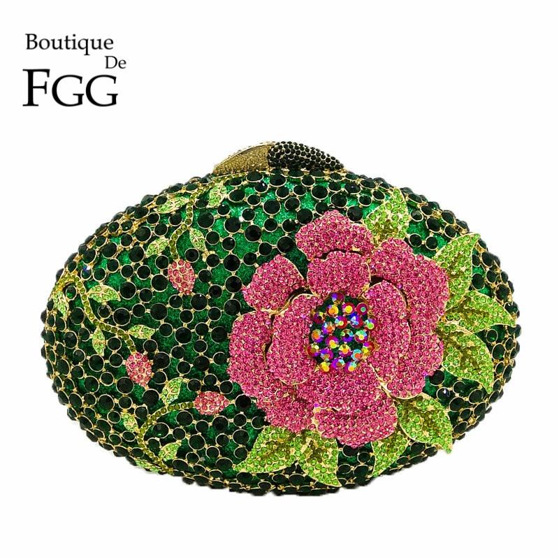 Boutique De FGG Hollow Out Rose Flower Green Crystal Women Evening Clutch Minaudiere Bag Wedding Cocktail