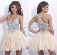 New Fashion Homecoming Dresses Sexy Deep V Neck Mini Chiffon Short Crystal Bodice Short Prom Dress Party Cocktail