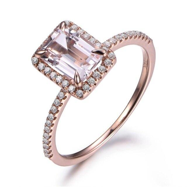 5x7mm Emerald Cut Pink Morganite Gemstone Diamond Halo 14k Rose