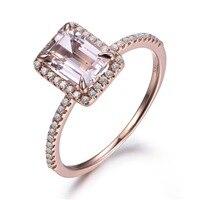 5x7mm Emerald Cut Pink Morganite Piedras Preciosas Diamantes de Halo 14 k de Oro Rosa de Compromiso Anillo de Aniversario de Boda Proponer Tamaño de la banda 4-10