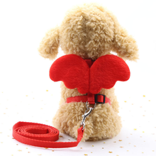 Dog Harness Leash Adjustable Puppy Lead Collar Set Pet Angle Wing Pattern for Cats Kitten Small Medium Dogs Doggie Vest Red Blue