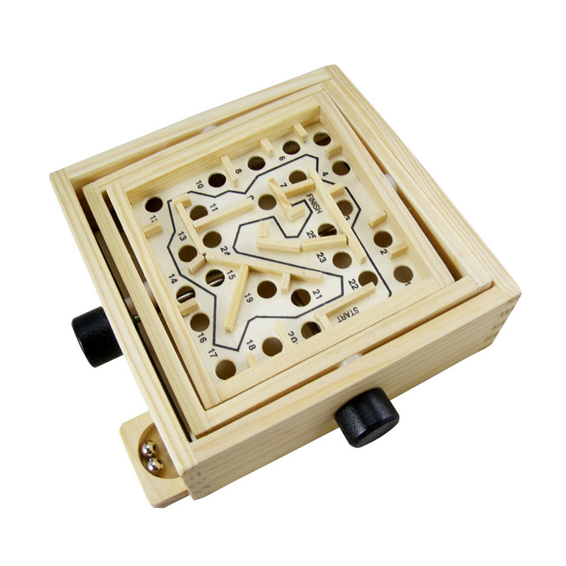 Mini Wooden Labyrinth Board Game Ball Maze Number Puzzle Handcrafted Toys Children Puzzle Box Educational Toys For Kid