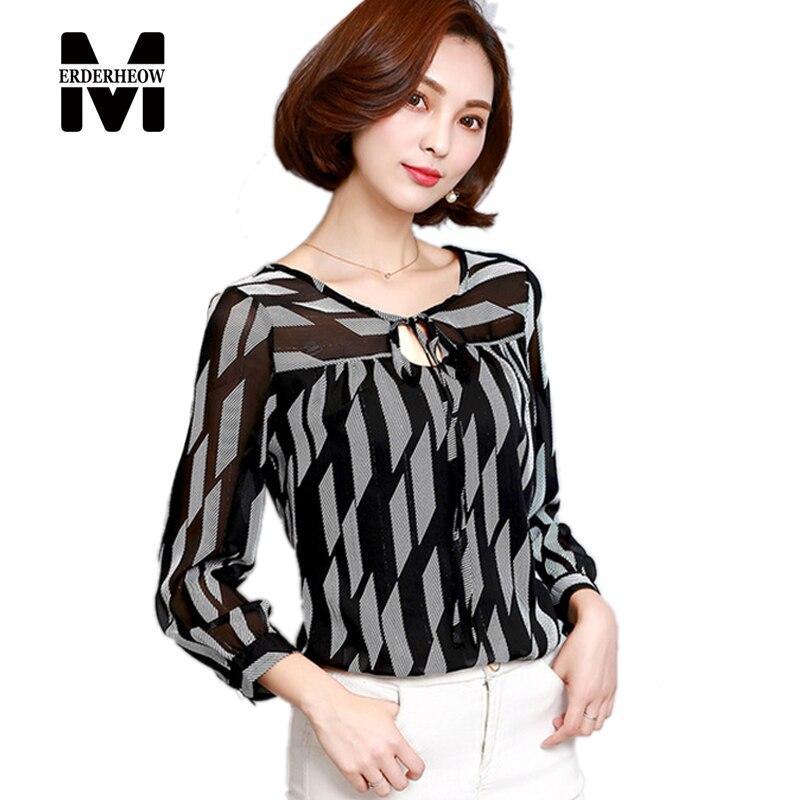 Merderheow nuevo 2017 mujeres del resorte impreso gasa blusas camisas femme casu