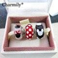 3 PCS um Lote 925 Sterling Silver Clássico Mickey & Minnie Charme Contas de Vidro Murano Serve Pandora Original Charm Bracelets 2014