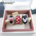 3PCS a Lot 925 Sterling Silver Classic Mickey&Minnie Charm Murano Glass Beads Fits Original Pandora Charm Bracelets 2014
