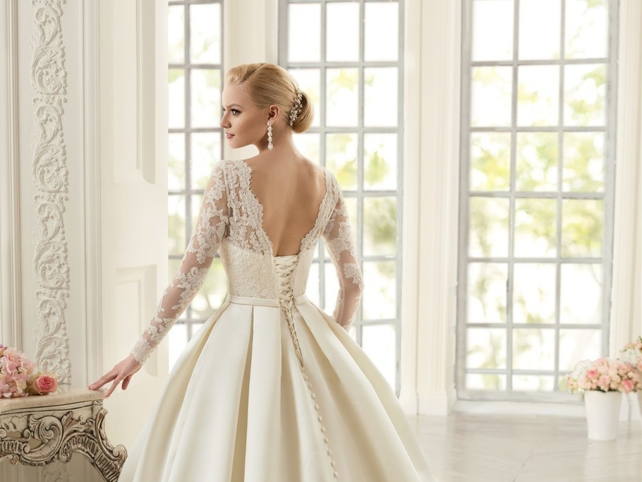 Elegant Simple Long Sleeve Wedding Dresses with Lace 2015 High Neck ...