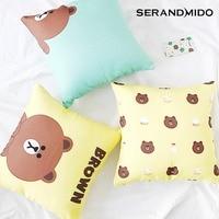 Brown Bear Cute Canvas Cushion Cover for Birthday Gift 100% Cotton Yellow Cushion Covers for Sofa Chair Home Decor SMC1707T-FB